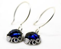 Dangly Sapphire Earrings, Blue Gemstone Earrings, Sapphire Bridal Jewelry, Wedding Earrings
