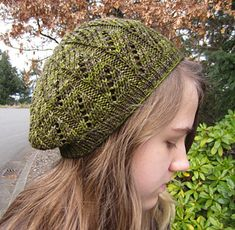 This light and airy beret is perfect for spring or fall. It uses the same twelve row lace pattern as the other Lacy Lady patterns and the colours in tonal or slightly variegated yarns are highlighted by the stitch pattern. It is worked in the round from the bottom up.