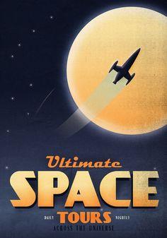 Дизайнер Фабио Перез (Fabio Perez) создал серию ретро-постеров на тему космическух путешествий: