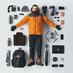 """Essentials of an Antarctic Expedition Photographer If you like """"things organized neatly"""" photos of camera gear, check this one out — it includes the photographer himself. This photo shows John Bozinov's es Camera Photography, Video Photography, Creative Photography, Portrait Photography, Landscape Photography, Wedding Photography, Camera Hacks, Camera Gear, Men Accessories"""