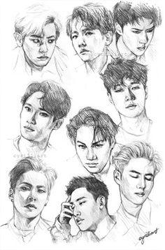 "cyrilliart: "" sketchbook page full of exo ; Kai Exo, Sehun, Kpop Drawings, Art Drawings Sketches, Kpop Fanart, Exo Fan Art, Fanarts Anime, Drawing Challenge, Art Sketchbook"