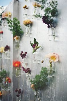 wall of hanging flowers