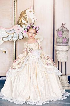"A Floral Victorian Inspired Girls Ball Gown ""Edwardian Rose"". A Floral Victorian Inspired Girls Ball Gown"