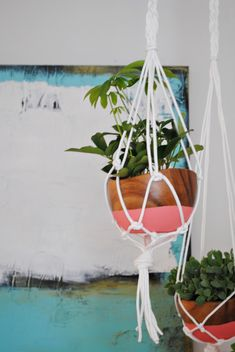 DIY macrame hangers with dipped wooden bowls