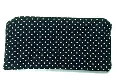 Polka dot, Make Up Bag, Cosmetic Bag, Handmade, Zippered Pouch, black and white purse, Medium size, Cotton, Fully Lined purse, handy bags.