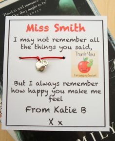Personalised Thank You Teacher Wish Bracelet by ConfettiLaceEvents, £2.00