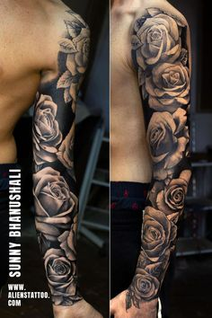 Rose sleeve on Actor Laurie Calvert by Sunny Bhanushali at Aliens Tattoo, India Rose Tattoo Forearm, Forarm Tattoos, Forearm Sleeve Tattoos, Best Sleeve Tattoos, Tattoo Sleeve Designs, Cool Tattoos, Best Forearm Tattoos, Tattoo Sleeve Themes, Mens Full Sleeve Tattoo