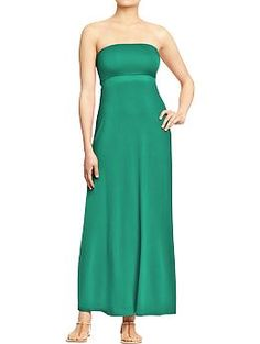 Women's Convertible Maxi-Tube Dresses (Old Navy) -- with a cardigan & statement necklace