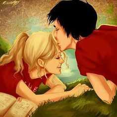 Percy Jackson and Annabeth chase <3 the shirts and percy's hair the wrong colors, but I still think its cute :3