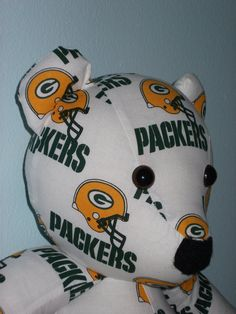 Teddy Bear Packers Wisconsin Green Bay NFL Football by DoOver, $35.00 DoOver.Etsy.Com