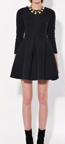 BLACK LONG SLEEVE SCUBA SWING DRESS | The Style Mob