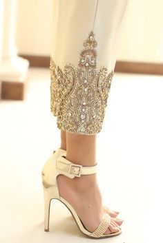 Show details for Gold Diamante Embroidered Trousers
