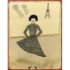 Art Print Girl From Paris by ValerieGalloway on Etsy, $25.00