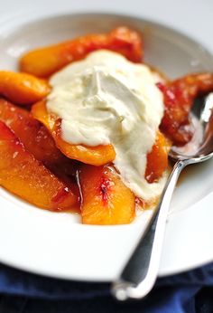 Easy Fried Nectarines with Vanilla Mascarpone (works well with peaches too!)