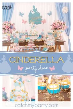Be swept off your feet with this gorgeous Cinderella themed princess birthday party! The cupcakes are so pretty!! See more party ideas and share yours at CatchMyParty.com #catchmyparty #partyideas #cinderellabirthdayparty #girlbirthdayparty #princessbirthdayparty