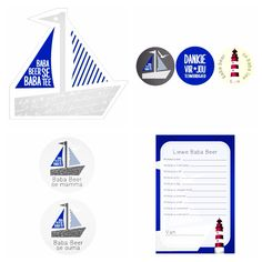 Blue boat baby shower with table centre, cupcake toppers, button badges and blessing card. Rhubarb Marmalade, Blue Boat, Table Centers, Button Badge, Cupcake Toppers, Blessing, Badges, Centre, Baby Shower
