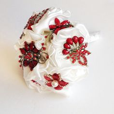 Bridal Brooch Fabric modern wedding bouquet - Satin Ivory handmade flowers with Red brooches -  small - made to order