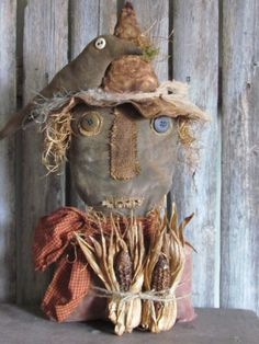 Primitive Black Scarecrow With Crow And Corn...