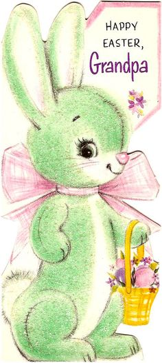 a green bunny for easter? Anything Easter. Hoppy Easter, Easter Art, Easter Crafts, Easter Bunny, Easter Greeting Cards, Vintage Greeting Cards, Vintage Postcards, Vintage Images, Retro Vintage