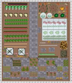 Garden Plan - Checker board herb area showing the new garden objects from the grow veg Garden Planner....