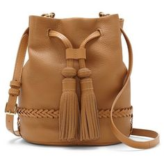 Vince Camuto 'Leigh' Leather Crossbody Bag ($137) ❤ liked on Polyvore featuring bags, handbags, shoulder bags, rich auburn, leather handbags, leather shoulder bag, brown leather handbags, leather bucket bag and brown leather crossbody