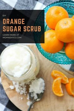 This DIY Orange Sugar Scrub is a wonderful self-care treat for your hands and body! Get the recipe from MomAdvice.com and make for an easy Mother's Day gift. #MothersDay #GrandmaPresent #Orange #DIYMothersDay