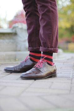 Pinstripe Socks + Brown Boots.