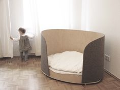 Children bed made of flexible plywood and wool felt is attached zip the slatted frame, mattress included by FubuELF on Etsy https://www.etsy.com/listing/206502415/children-bed-made-of-flexible-plywood