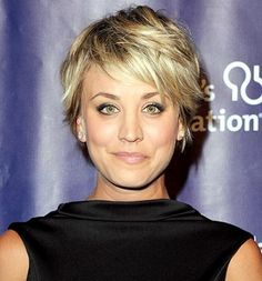 "Kaley Cuoco modeled her tousled pixie cut at the 23rd Annual ""A Night At Sardi's"" event on March 18 in Beverly Hills."