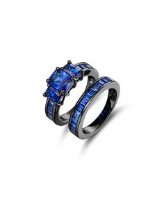Loving this Blue Spinel & Black Princess-Cut Ring Set on #zulily! #zulilyfinds