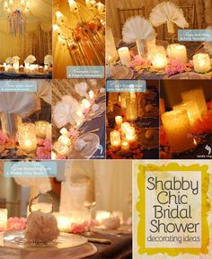 Shabby chic inspiration with elegant candlelight, favors, and table decor. All in a palette of soft pink and white.  #bridalshowers #shabbychicbridalshower #vintagebridalshower