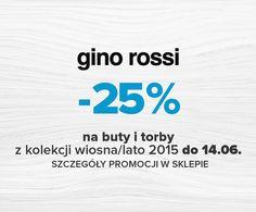 -25% na buty i torby w GINO ROSSI Wraz z nadejściem niezwykle ciepłych dni, wszystkich naszych klientów gorąco zapraszamy do skorzystania z najnowszej promocji -25% na buty i torby/torebki z najnowszej kolekcji Wiosna-Lato 2015. Szczegóły promocji dostępne u sprzedawcy w naszych salonie. Zapraszamy!