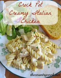 Crock Pot Creamy Italian Chicken   1-2 pounds boneless, skinless chicken breasts, cut into 1-inch cubes  1/4 cup water (or chicken broth)  1 (0.7) packet dry Italian Salad Dressing Mix  1/2 cup onion, chopped  1 clove garlic, minced  1 (10.75 oz) can cream of chicken soup  1/2 cup chicken broth  1 (8 oz.) block cream cheese, softened  1 (16 oz.) box Rotini pasta, cooked