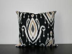 Decorative Throw Pillow Black Ikat Pillow Cover by JuliaSherryHome Black Pillow Covers, Black Pillows, Ikat Pillows, Toss Pillows, Throw Pillow Covers, Accent Pillows, Sofa Throw, Pillow Forms, Pillow Inserts
