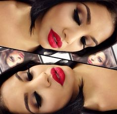 Beautiful Red Lips Makeup - Neutral Smokey Eye - Winged Eyeliner - Lashes