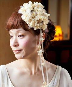 ④3番目に好きです。レースは取り外せるみたいです/wedding(ウェディング)のお花のツルとかすみ草のヘアクリップ*(その他ヘアアクセサリー)|ホワイト
