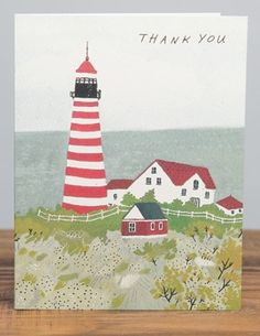 Maine Lighthouse | Red Cap Cards | Illustrated greeting card by Becca Stadtlander #thank #you @Becca Stadtlander