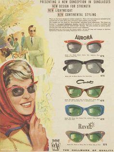 mid-centurylove:  A new conception in sunglasses, 1961