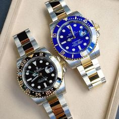Two toned yellow gold Rolex's Submariner vs GMT Gents Watches, Stylish Watches, Luxury Watches For Men, Cool Watches, Rolex Watches, Gold Rolex, Rolex Gmt, Rolex Submariner, Watches Photography