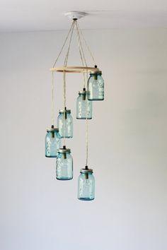 Mason Jar Chandelier, 6 Antique Blue Mason Jar Pendant Lights in a Spiral, Hanging Lighting Fixture I BootsNGus I Etsy