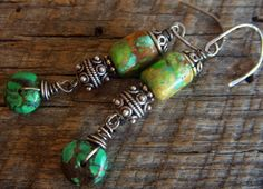 Sterling Silver and Turquoise Beaded Earrings by yuccabloom, $25.00