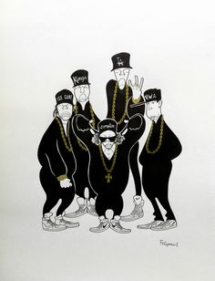 Felipe Elgueta ~ N.W.A.: Ice Cube, MC Ren, Eazy E, Dr. Dre, and DJ Yella