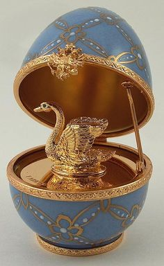 This egg box was made in Limoges, France for the Faberge company.