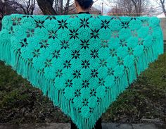 T his crochet shawl for beginners  is perfect for everyday use in green with a beautiful set of clothes will let your loook...