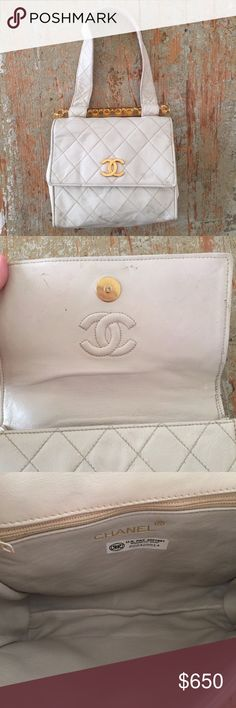 Rare Vintage Chanel Ivory Quilted Leather Bag Authentic Chanel quilted ivory leather bag with a gold CC and unique lucite bar filled with a gold quilted chain. This sweet bag has been in storage and needs to be cleaned. No tears or rips. Just dirty and a bit misshapen from storage. Interior has a zip pocket and is in great condition. The bar has a rare reverse gold CC on the end but is missing the one on the other side. Last photo is a black version I found online. This is a collectors…