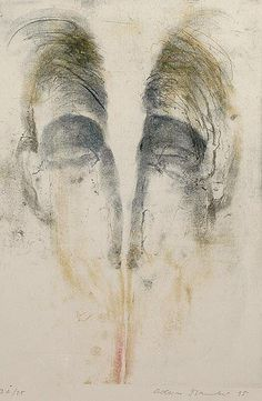 """Description: Head, 1995. Colored etching on paper, 335 x 225 mm, bottom right pencil signed """"Adriena Šimovová 95""""."""