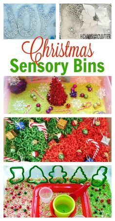 Bins Christmas sensory bin ideas to inspire you to create your own.Christmas sensory bin ideas to inspire you to create your own. Sensory Tubs, Sensory Boxes, Baby Sensory, Sensory Activities, Holiday Activities, Sensory Play, Sensory Diet, Toddler Sensory Bins, Autism Activities