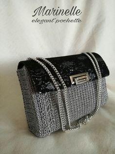 Discover thousands of images about Crochet Clutch, Crochet Handbags, Crochet Purses, Knit Crochet, Fashion Bags, Fashion Accessories, Art Bag, Leather Fashion, Crochet Projects