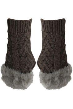 Arm Warmer Gloves With Faux Fur Trim