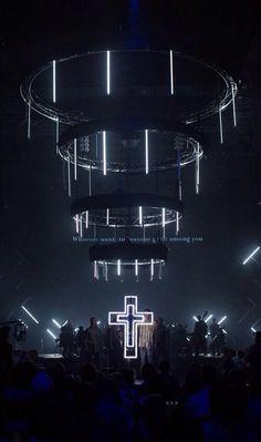 Hanging LED Strips - Vision Sunday, Hillsong (lighting idea)